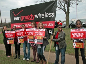 "Workers outside the Verizon Store in Roseville during the ""National Day of Action"" March 22."