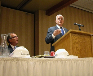 Minnesota Building Trades Council President Harry Melander watches as Gov. Mark Dayton addresses the convention.