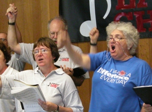 "Members of the Twin Cities Labor Chorus perform ""songs of protest, resistance, justice, and a vision for a better world."""