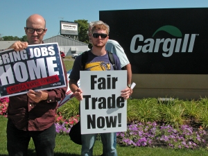 Members of the Minnesota Fair Trade Coalition protested outside Cargill's offices in Hopkins last July, targeting the company for its involvement in secretive TPP negotiations.