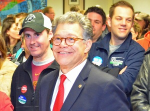 U.S. Sen. Al Franken, shown here at a union rally in St. Paul, co-authored a letter to President Obama urging enforceable protections for workers' rights in the TPP.