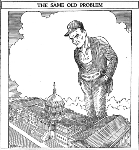 A cartoon from the Jan. 27, 1938, Union Advocate presents a familiar problem.