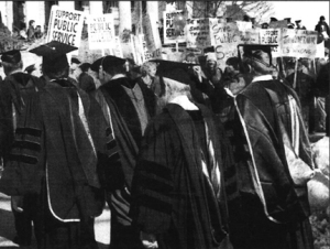 AFSCME Local 3800 staged a demonstration during the installation of new U of M President Robert Bruininks in February 2003.