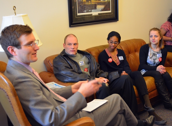 Rep. Jason Metsa hears from minimum-wage earners (L to R) Robert Schiff, Janiece Watts and Avita Samuels.