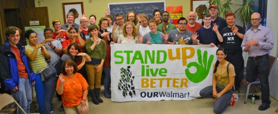 Supporters show their support for low-wage workers at Walmart and Target at a sendoff event for Gabe Teneyuque.