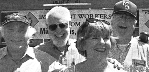 Minnesotans who participated in the 1961 Freedom Rides for civil rights were on hand to kick off the 2003 Immigrant Workers Freedom Ride in St. Paul. Pictured from L to R are Marv Davidov, Zev Aelony, Claire O'Connor and Bob Baum.