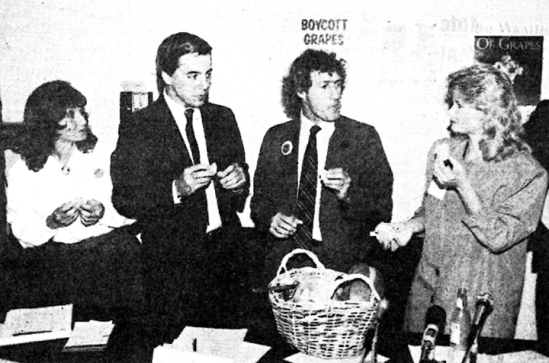 After Cesar Chavez protested the effects of pesticides on farm workers and consumers, Minnesota-based elected officials pledged their support of the boycott. Breaking their fast after three days were, L to R, Lynn Gordon, Charles Bendar, Terry Gips and Michelle King.