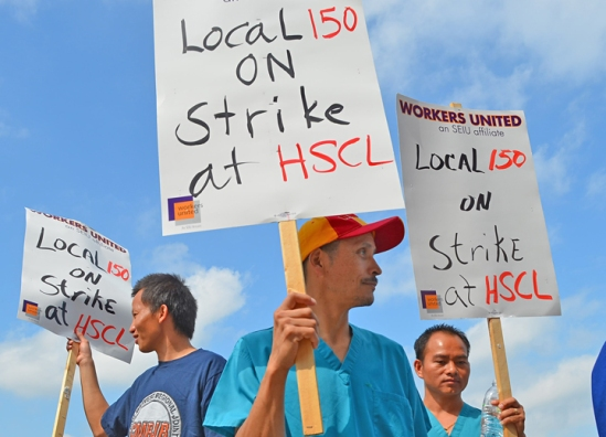 Workers at Health Systems Cooperative Laundries are on strike on St. Paul's East Side.