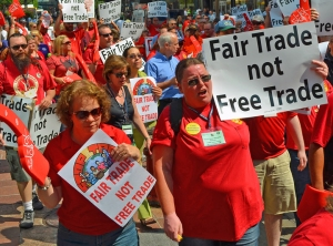 Members of the Communications Workers union led a march against the Trans-Pacific Partnership fair-trade agreement in Minneapolis last year.