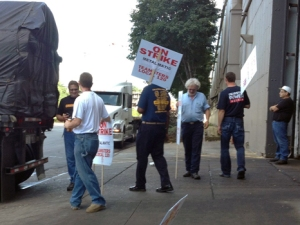 Teamsters walk the picket line outside Metal-Matic in Minneapolis.