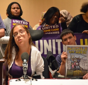 Nicole Villavicencio (L) talked about why they support their home health care providers' efforts to join SEIU Healthcare Minnesota during the lobbying effort two years ago.