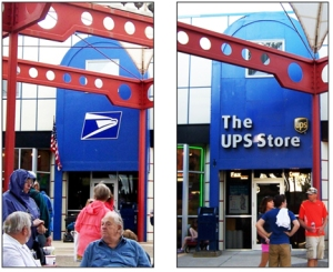 The Minnesota State Fair's on-site post office had a new look in 2013 (right), ditching the U.S. Postal Service logo present a year earlier – and stoking concerns about privatization of the postal service.