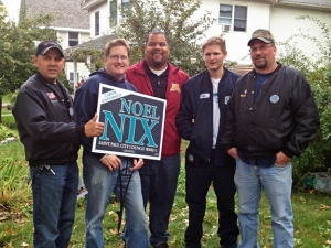 Members of Teamsters Local 120 volunteer to knock doors in St. Paul's Ward 1 for labor-endorsed candidate Noel Nix. Pictured L to R: Ben Alvarado, Paul Slattery, Noel Nix, Will Hassard and Marty Brinkman. (submitted photo)