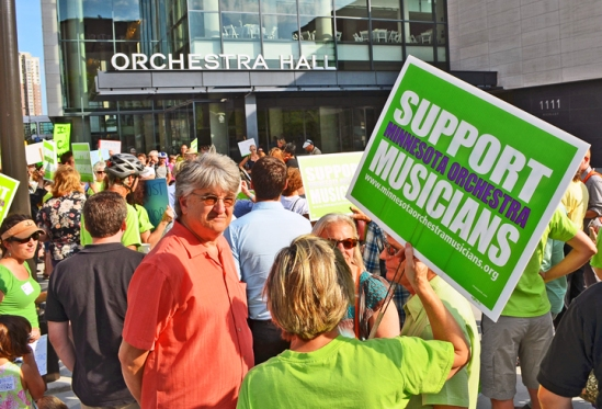 Patrons and musicians gather for a demonstration outside Orchestra Hall organized by Save Our Symphony Minnesota last month.