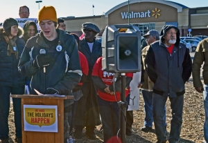 Mike Ahles joined a press conference announcing Black Friday protests in St. Paul.