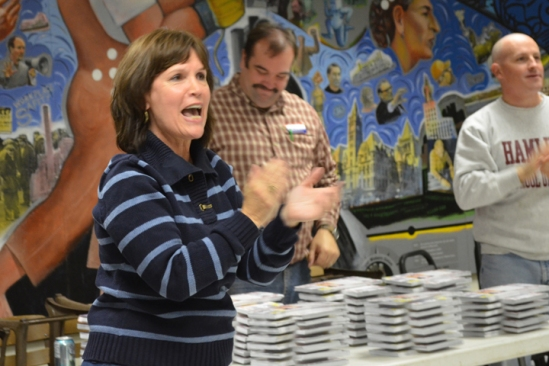 U.S. Rep. Betty McCollum rallies volunteers at a rally in the St. Paul Labor Centre.
