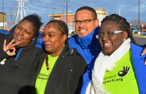 U.S. Rep. Keith Ellison walked out of Walmart alongside three striking Brooklyn Center employees: (L to R) April Williams, Lillian Griffith and Andrea Williams.