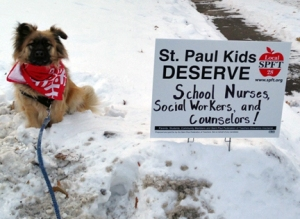Lawn signs in support of the St. Paul Federation of Teachers' contract campaign popped up across the city last month. The signs supporters to personalize their message and, as a result, reflect the broad-based, community outreach that went into drafting the union's bargaining priorities.