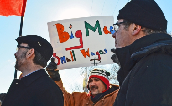 Demonstrators in Minneapolis show their support for striking fast-food workers across the U.S.