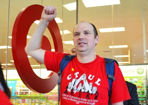 CTUL members lead a march through the Minneapolis skyway system and into Target's flagship store.