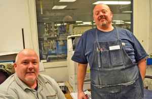 Foremen at the plant, Jim Anderson (L) and Darrin Seiberlich followed their fathers to work at the Pioneer Press. Anderson's grandfather worked for the company as well.