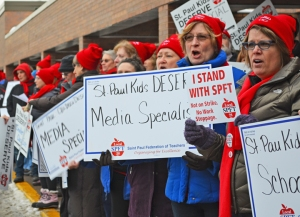 Teachers and supporters rallied Tuesday outside a meeting of the St. Paul Board of Education.