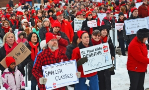 Supporters wear red to show their support for the teachers' union.