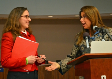St. Paul Federation of Teachers President Mary Cathryn Ricker (left) and Superintendent Valeria Silva reviewed the contents of the tentative agreement with media members Feb. 24.
