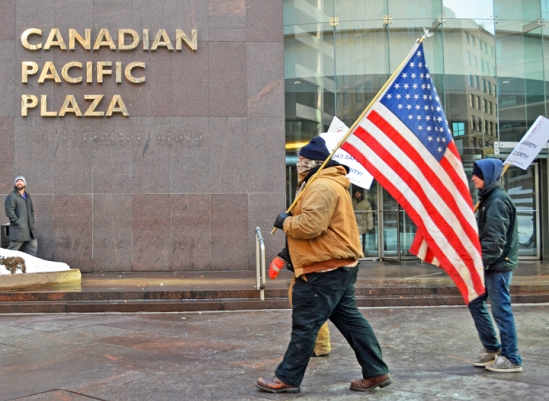 UTU members join informational picketing outside Canadian Pacific's offices downtown Minneapolis.