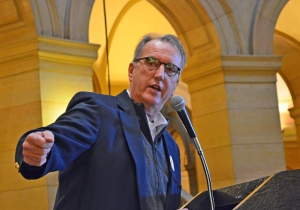 Minnesota Building and Construction Trades President Harry Melander addressed union members during a rally at the Capitol March 6.