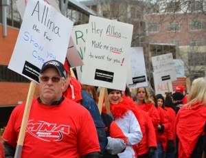 Nurses staged informational picketing outside United Hospital downtown St. Paul in March, supporting Regina nurses in contract negotiations with Allina.