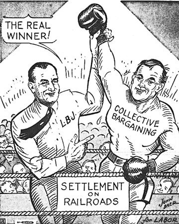 """The Union Advocate ran this cartoon in May 1964, celebrating an agreement brokered by President Lyndon Johnson to end a four-and-a-half-year dispute between railroad companies and their unions. In an address to the nation, Johnson praised both sides, and called the agreement a victory for collective bargaining. """"I tell you quite frankly there are few events that give me more faith in my country and more pride in the free, collective bargaining process,""""he said."""