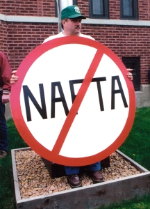 Activists in Northfield protested NAFTA more than 20 years ago in this Union Advocate file photo.