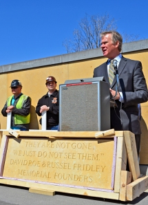 St. Paul Mayor Chris Coleman delivers remarks during the Building Trades' Workers Memorial Day ceremony.
