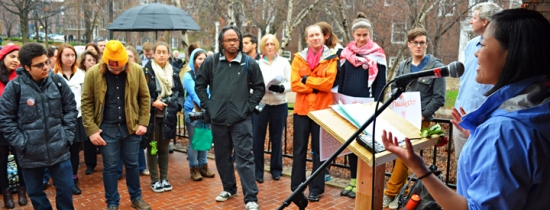 Macalester sophomore Julia Gay leads a rally during Contingent Faculty Appreciation Week on campus.