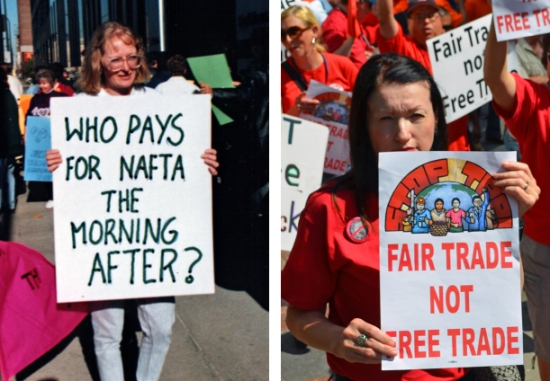 NAFTA drew protests in Minnesota before its implementation (left), but debate surrounding the model for trade it established 20 years ago continues with the TPP today (right).