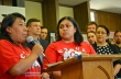 Lucilla Dominguez (L) speaks at a press conference during CTUL's victory celebration. Veronica Mendez translates.