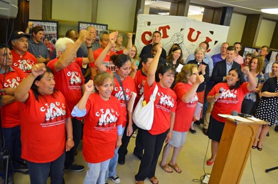Retail cleaning workers and supporters of their worker center, CTUL, celebrate a breakthrough agreement with Target to protect workers' rights.