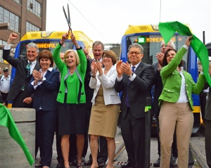 City, county, state and federal funding made the Green Line a reality, and elected officials from all four levels of government helped cut the ribbon at the Green Line's Opening Day celebration outside Union Depot. (UA photo by Mike Weerts)