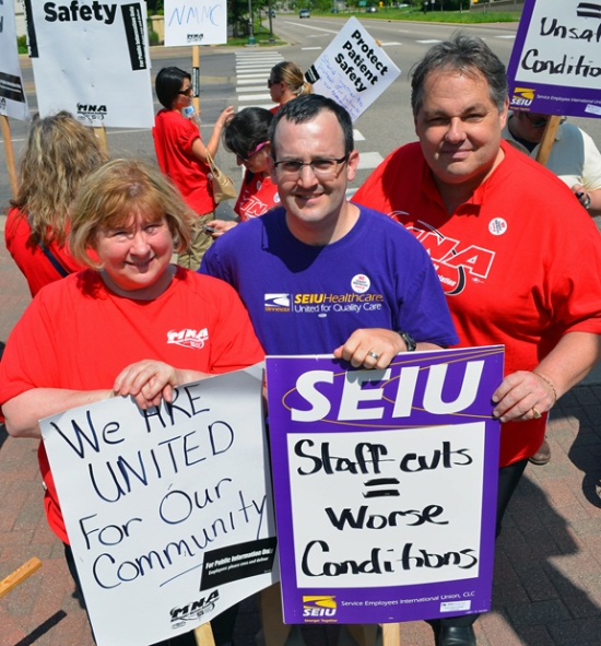 Presidents Linda Hamilton (MNA), Jamie Gulley (SEIU Healthcare MN) and Bobby Kasper (St. Paul Regional Labor Federat-ion) walked the picket line together.