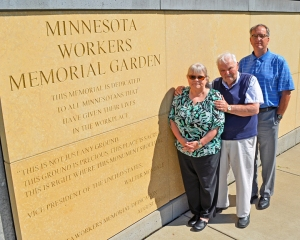 Judy Grudem served as treasurer for fundraising around the Workers Memorial Garden. She and Harry Melander (R) will serve on a committee to guide artists who will complete the memorial wall with a ceramic mural. Grudem's father, David Roe, conceived the idea for a memorial 15 years ago.