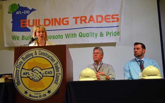 Jessica Looman, an assistant commissioner at the Minnesota Department of Labor and Industry, addresses Building Trades delegates.