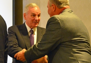 Gov. Mark Dayton greets Building Trades delegates at their annual convention.