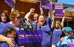 Pro-union home health care workers celebrated the results of their organizing election last August.
