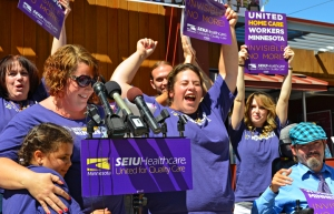 Pro-union home health care workers celebrate the results of their organizing election at the Minnesota AFL-CIO Labor Pavilion on the State Fairgrounds.