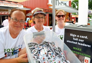 Active and retired members of AFSCME Council 5 support transportation funding at the Fair: (L to R) Tony Peterson, Judy Schultz and Christine Main.