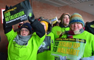 Walmart strikers from Apple Valley are, L to R, Cantare Davunt,