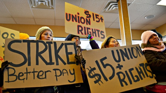 Striking fast food workers occupy a Burger King in south Minneapolis.