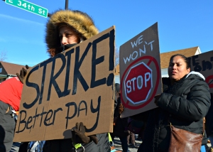 A demonstration in support of striking fast-food workers shut down traffic on Nicollet Avenue in Minneapolis.