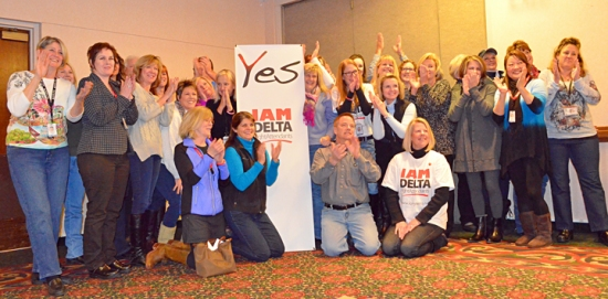 "MSP-based Delta flight attendants gear up to vote ""yes"" to joining the IAM during a meet-and-greet event in Bloomington last month."